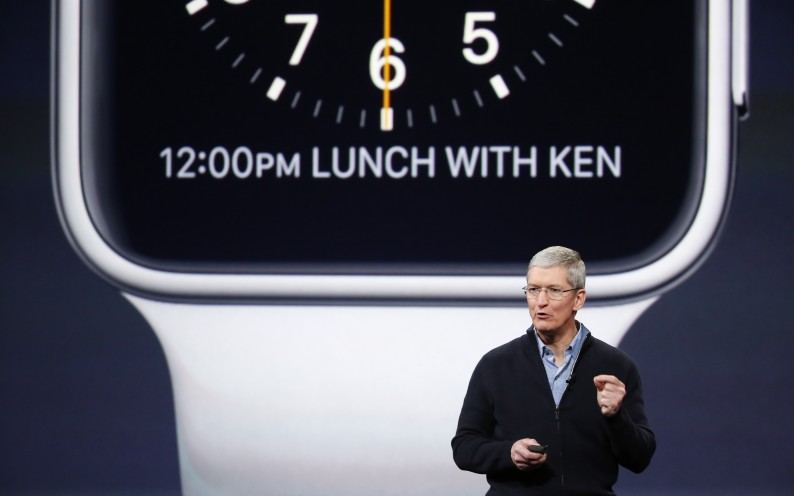 SAN FRANCISCO, CA - MARCH 9: Apple CEO Tim Cook announces the Apple Watch during an Apple special event at the Yerba Buena Center for the Arts on March 9, 2015 in San Francisco, California. Apple Inc. is expected to unveil more details on the much anticipated Apple Watch, the tech giant